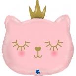 Котенок Принцесса, Розовый, фольгированный шар