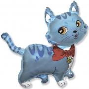 Любимый котенок с бантом, голубой, гелиевый, фольгированный шар